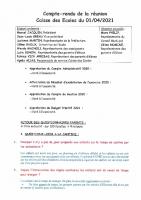 COMPTE RENDU SEANCE DU 1er AVRIL 2021
