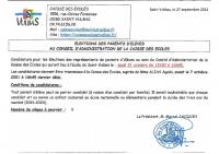 ELECTIONS CAISSE DES ECOLES APPEL A CANDIDATURE 2021