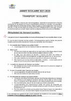 REGLEMENT TRANSPORT SCOLAIRE 2021-2022